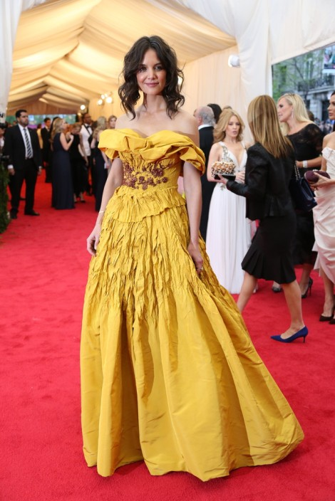 Katie Holms in Marchesa inspired by Belle from Beauty and the Beast.